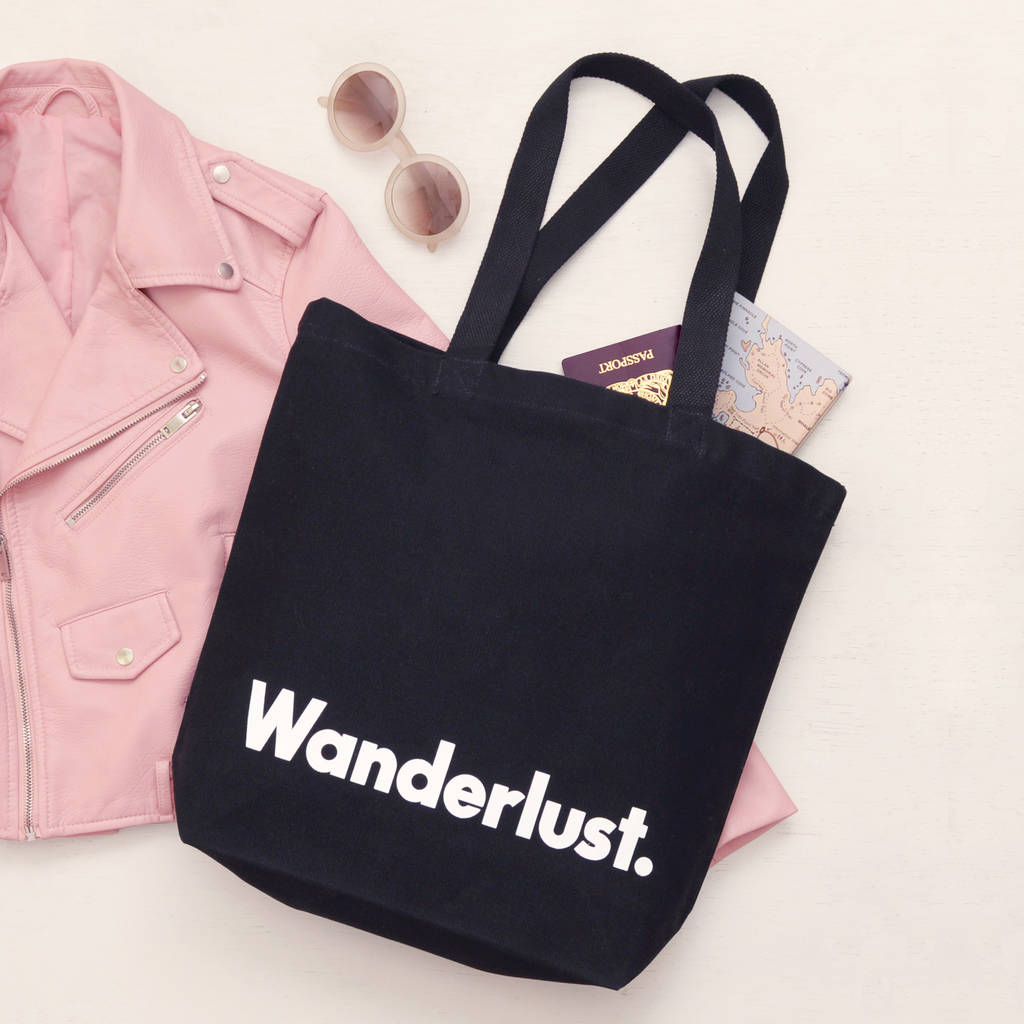 'wanderlust' Canvas Tote Bag by Alphabet Bags