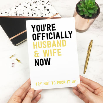Personalised Funny 'Husband And Wife' Wedding Card