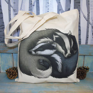 Badger Couple Illustration Eco Tote Bag - womens