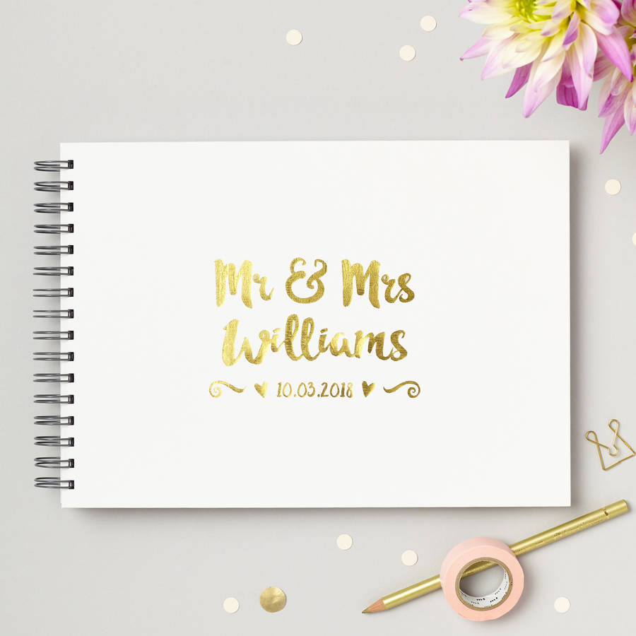 Wedding Guest Book Cover Ideas : Personalised mr and mrs wedding guest book by love give