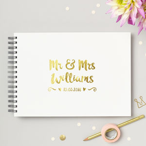Personalised Mr And Mrs Wedding Guest Book - spring styling