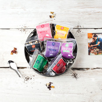 Seven Loose Leaf Tea Gift Set Tin With Silk Sari Wrap