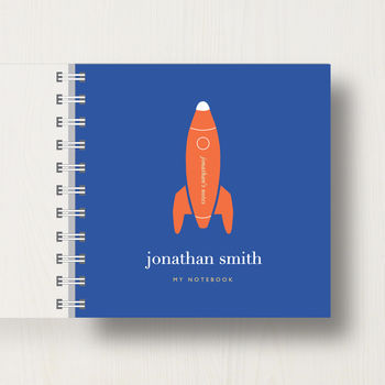 notebook in blue colour scheme