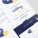 Navy Watercolour Hearts Wedding Stationery Set