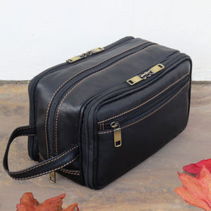 Leather Wash Bag - wash & toiletry bags