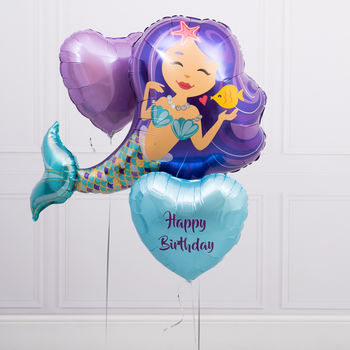 Inflated Personalised Purple Mermaid Balloon Bunch