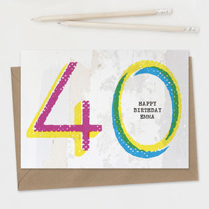 Personalised 40th Birthday Card A5