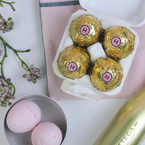 Easter Egg Prosecco And Strawberry Bath Bomb Gift