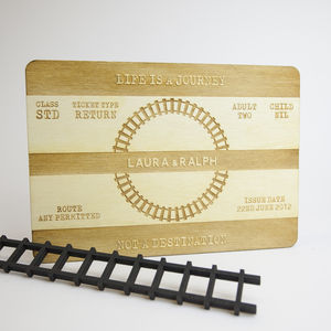 Personalised Wooden Train Ticket Print - dates & special occasions