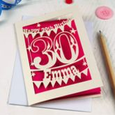 Personalised Papercut 30th Birthday Card - cards