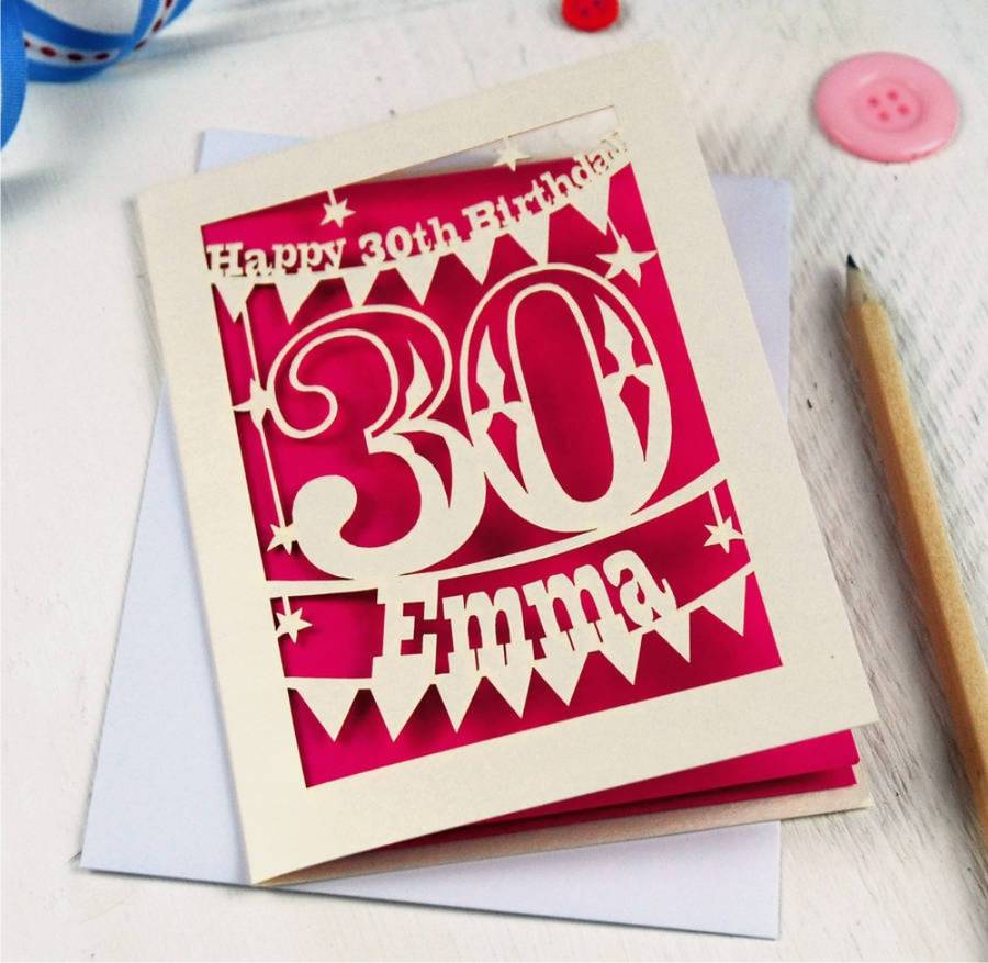 Personalised Papercut 30th Birthday Card