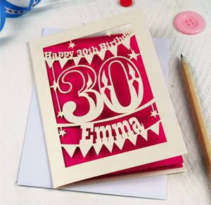 Personalised Papercut 30th Birthday Card - birthday cards