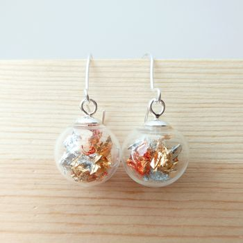 24 Carat Gold, Sterling Silver And Copper Earrings