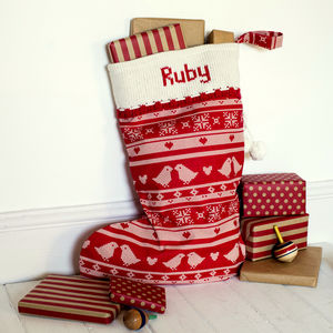 Red Personalised Christmas Stocking With Knitted Cuff - stockings & sacks