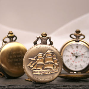 Engraved Bronze Pocket Watch Ship Design