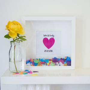Personalised 'Happy Heart' Confetti Frame - posters & prints