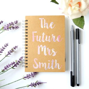 Personalised A6 Future Mrs Wedding Engagement Notebook