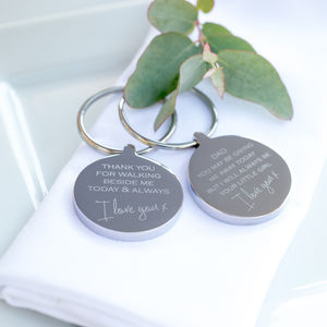 'Giving Me Away' Wedding Keyring - wedding gifts for fathers