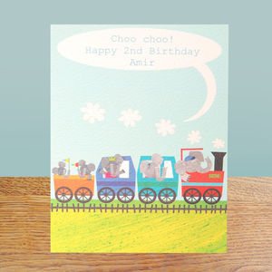 Personalised Elephant Train Card
