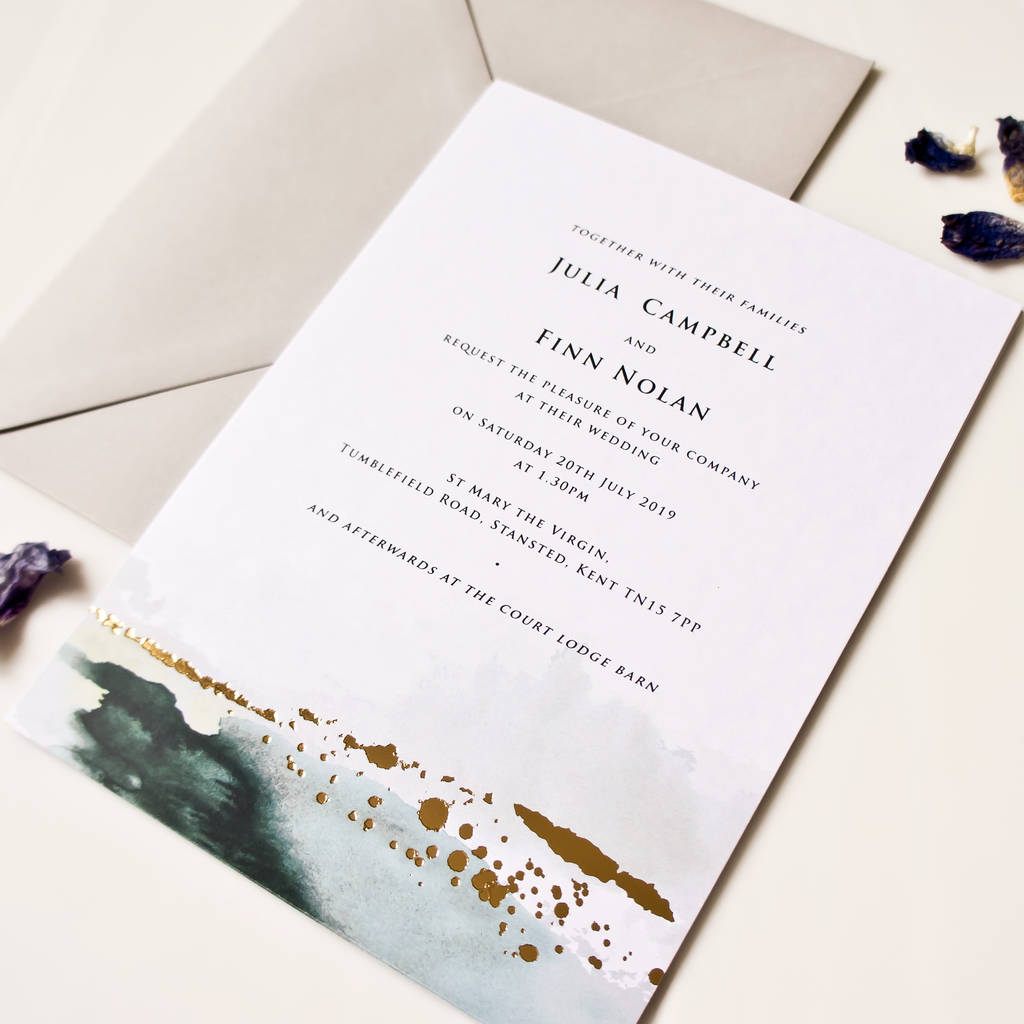 Watercolour And Foil Wedding Invitations watercolour and