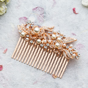 Akira Crystal Rose Gold Hair Comb