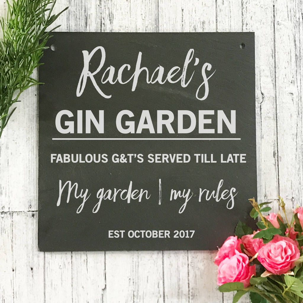 Personalised Gin Garden Slate Sign