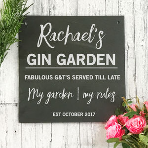Personalised Gin Garden Slate Sign - art & decorations