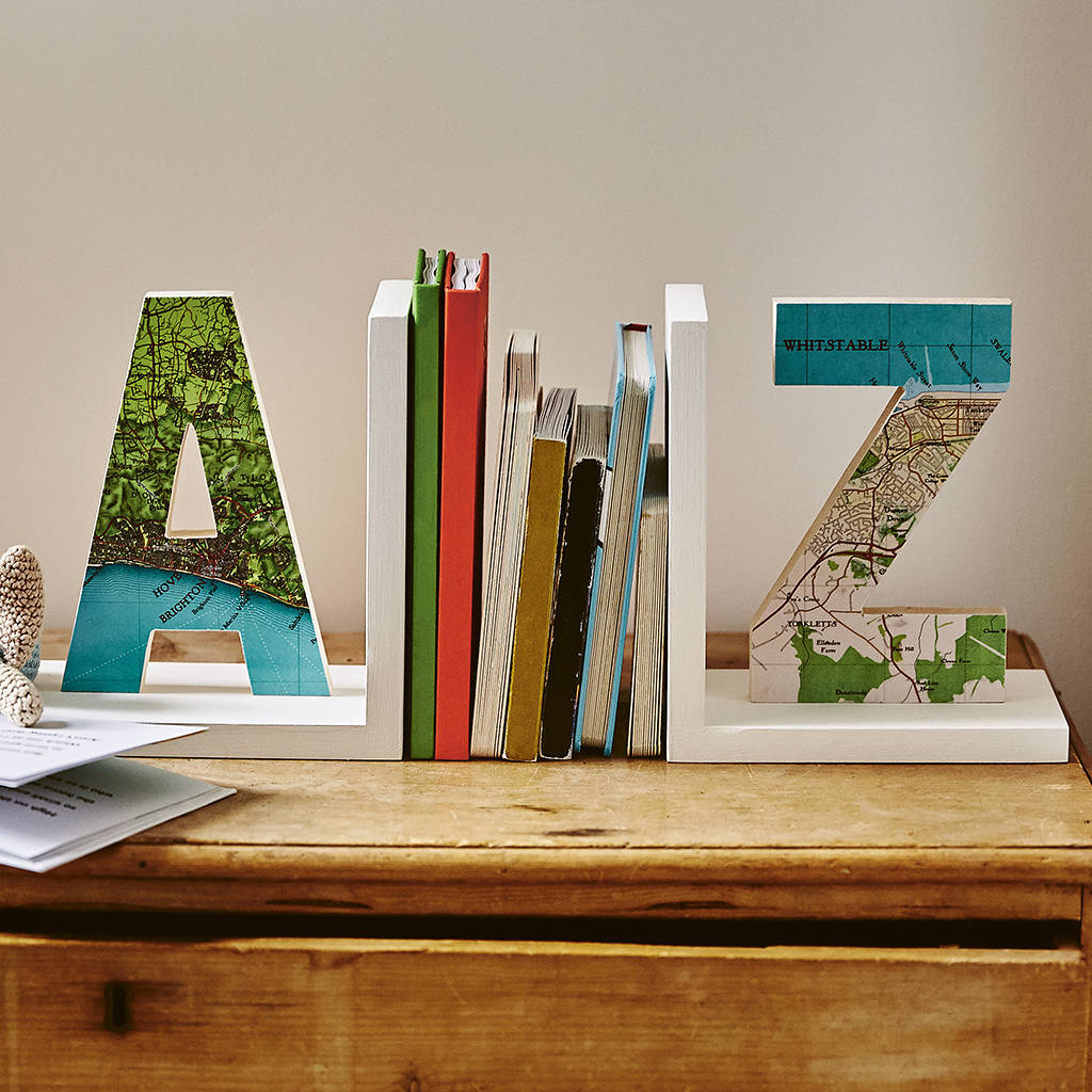 personalised map location letter bookend by bombus rh notonthehighstreet com