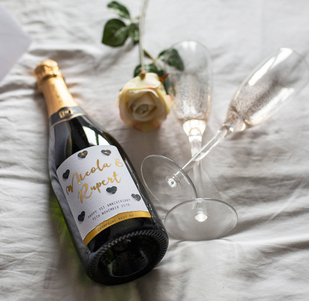 First 1st Anniversary Personalised Sparkling Wine Gift