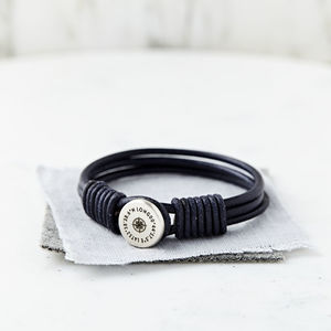 Personalised Silver And Leather Coordinate Bracelet - gifts for him