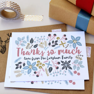 12 Personalised Family Christmas Thank You Cards - thank you cards