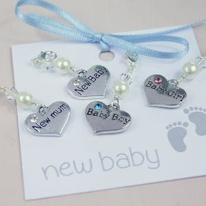 New Baby Keepsake Heart Charm - charm jewellery