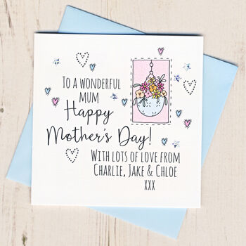 Personalised Mothers Day Hanging Basket Card