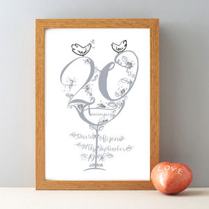 20th Anniversary Personalised Gift Print
