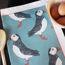 Green Puffin Cotton Tea Towel