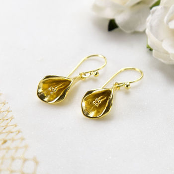 Gold Plated Sterling Silver Calla Lily Earrings