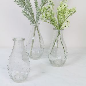 Set Of Three Dimpled Bud Vases - vases