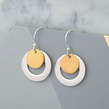 Mixed Metal Silver And Gold Circle Earrings