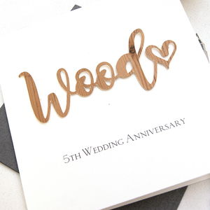 Wood 5th Wedding Anniversary Card - anniversary cards
