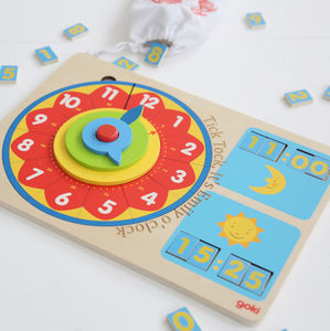 Personalised Wooden Clock Toy - gifts for children