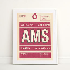 Personalised Amsterdam Vintage Luggage Tag Print