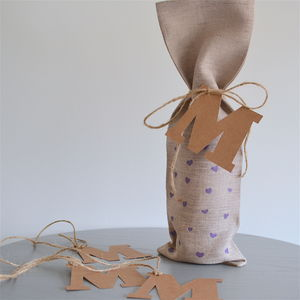 Mother's Day Linen Bottle Bag