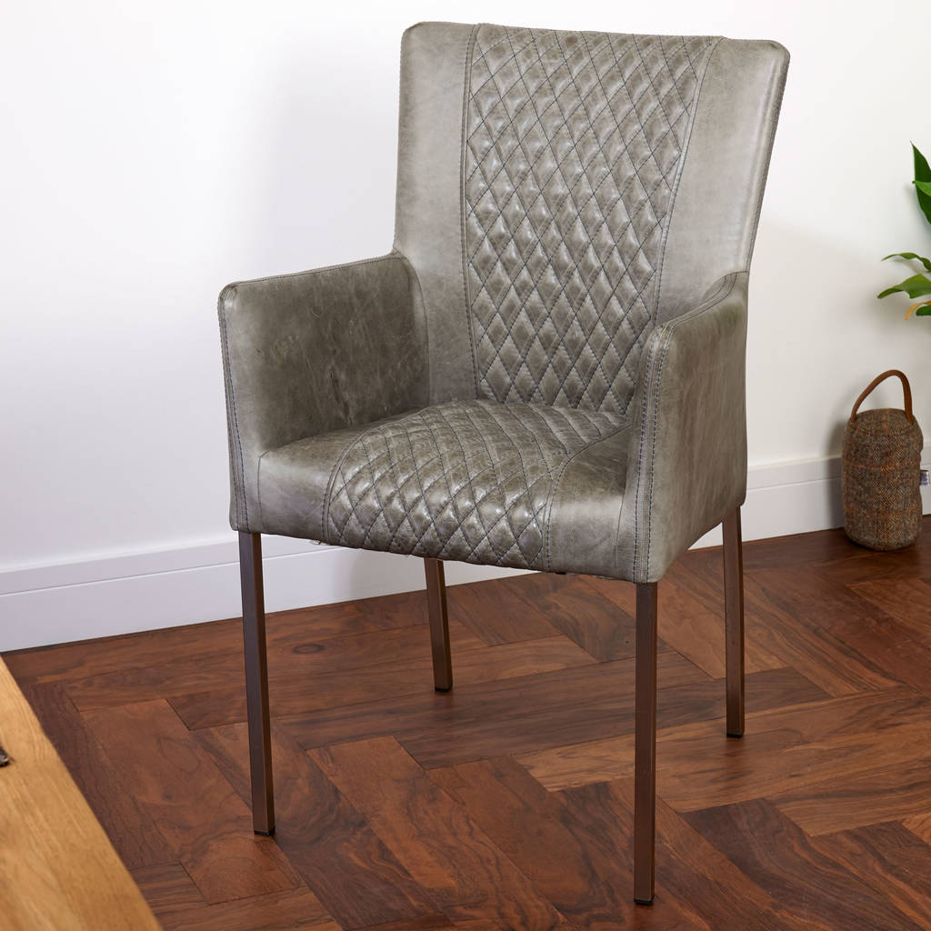 Vintage Leather Dining Chair Brown Cerato Grey