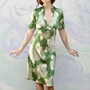 Midi 1940's Style Dress In Hydrangea Print Silk Satin
