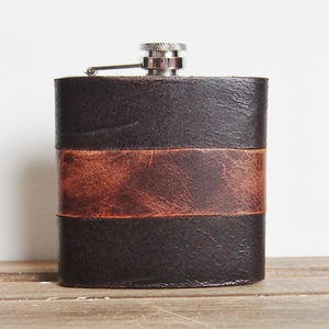 Customised Mixed Leather Hip Flask - outdoor living