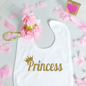 Baby Princess Crown Cute Bib Silver Or Gold