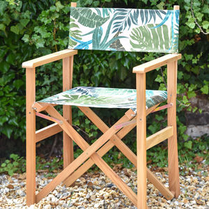 Tropical Palm Print Garden Director Chair - garden furniture