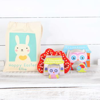 Personalised Bunny Rabbit Gift Bag And Two Owl Puzzles