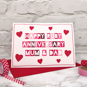 'Mum And Dad' 40th Ruby Anniversary Card