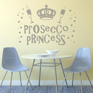 Prosecco Princess Wall Sticker Decal - home decorating